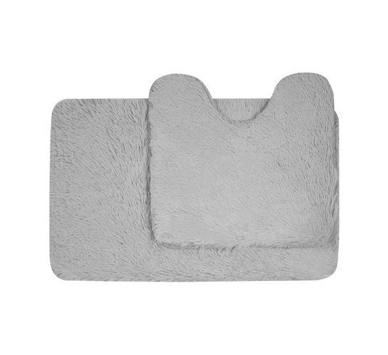 Waltex Shaggy Memory Foam Mat and Pedestal Silver