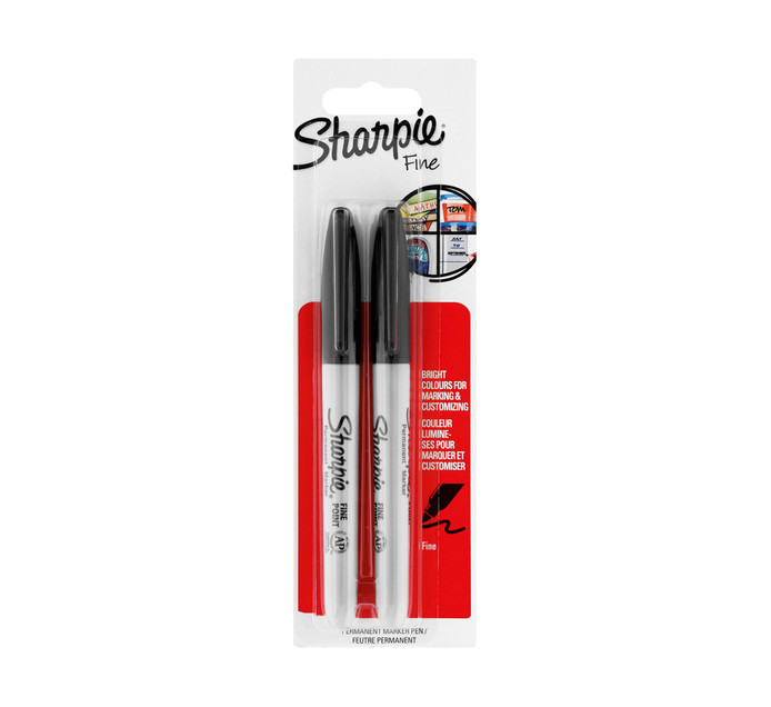 Sharpie Permanent Markers Fine Black 2-Pack