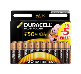 DURACELL AA Plus Power Batteries 15 + 5 Free