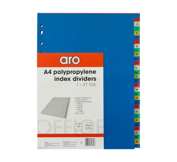 ARO A4 1-31 Tab File Dividers Assorted 31-Part