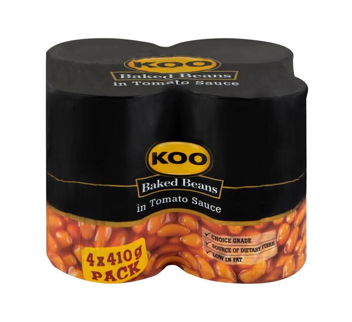KOO Baked Beans In Tomato Sauce (4 x 410g)