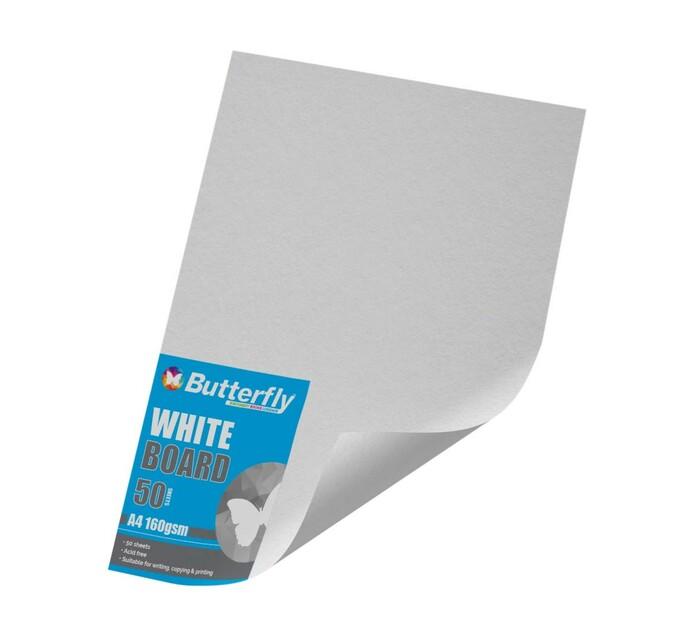 Butterfly A4 Board White 50 Sheet