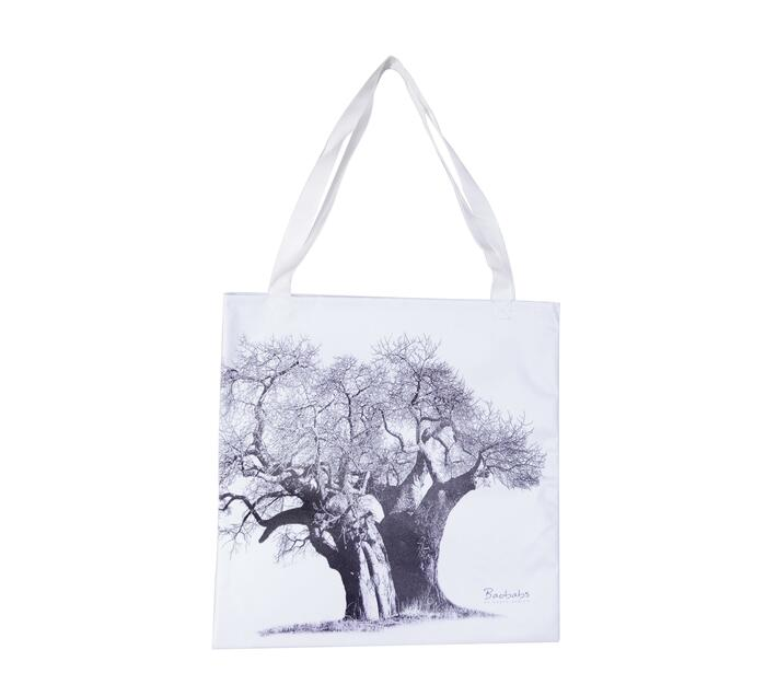 Tote Bag with a big baobab black and white print in front.