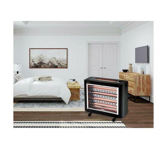 2000W Five Bar Wheeled Quartz Heater with Top Bar, Fan & Humidifier - Black