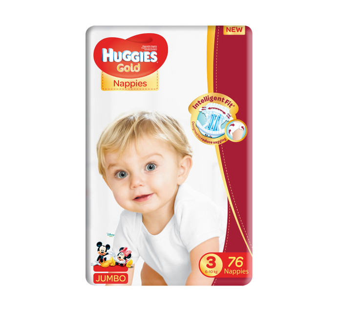 Huggies Jumbo Unisex Gold Disposable Nappies Size 3 (1 x 76's)