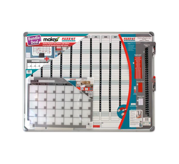 Parrot 1200 x 900 mm Magnetic Year Planner Bundle