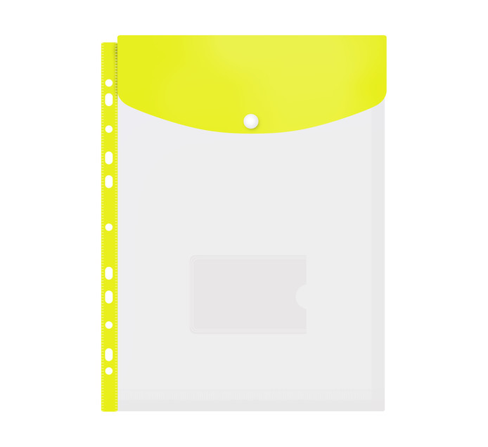 Kenzel A4 Top Load Punched Carry Folder Yellow Each