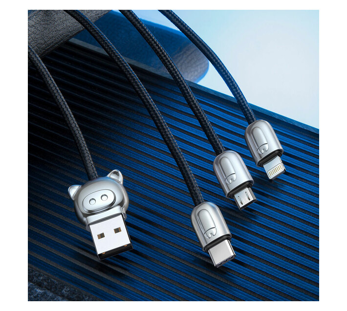 Baseus 1.2m - 3.5A 3in1 LittlePig USB Type-A 2.0 to Lightning, Micro & Type-C