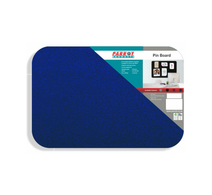 Parrot 450 x 350 mm No Frame Pin Board Royal Blue