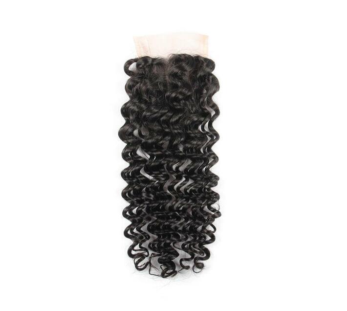 Blkt 10 inches 12A Brazilian Deep Curl 4X4 Three Parts Closure