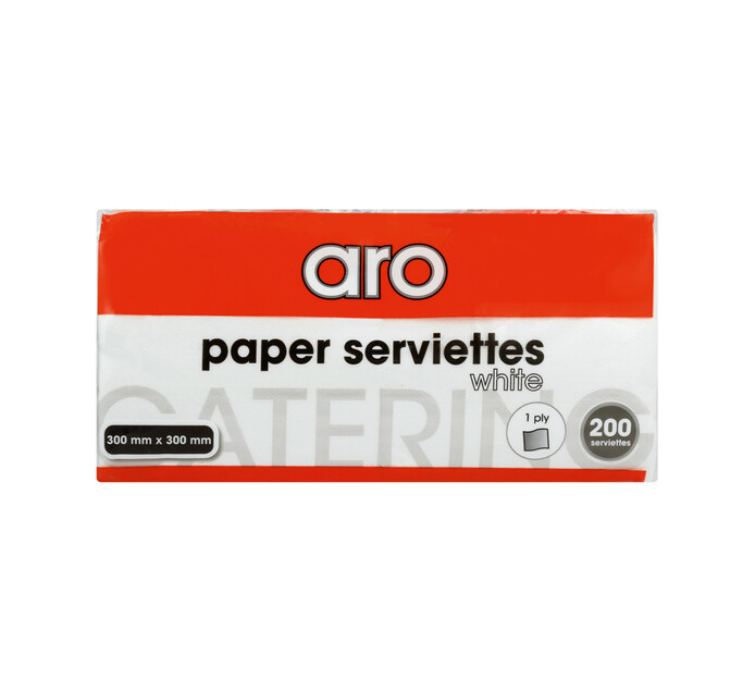 ARO Serviettes White 1-Ply 300 mm x 300 mm (1 x 200's)