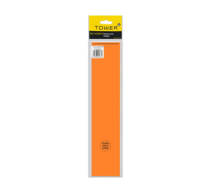 Tower Lever Arch Labels Fluorescent Orange 12-Pack Fluorescent orange