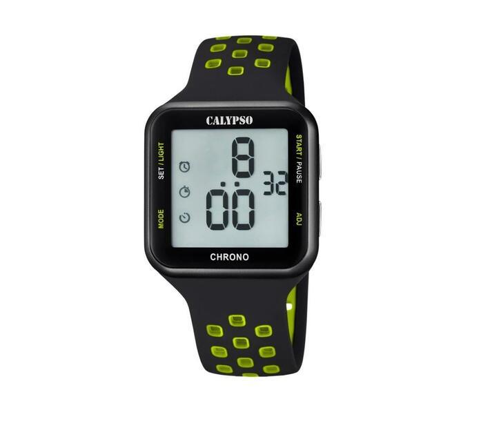 Calypso Digital Ladies Chrono Sports Watch - Black Green
