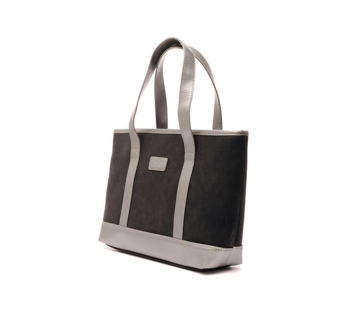 Instax Black Suede Handbag Pearl White