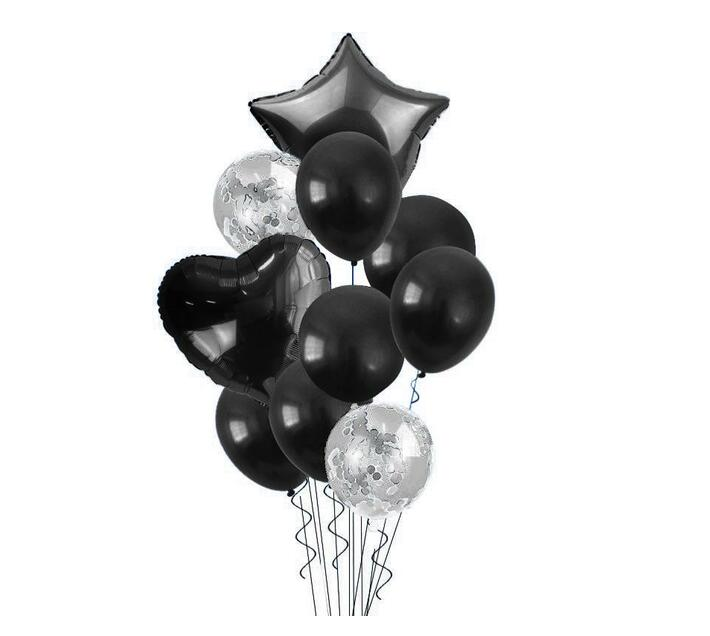 BubbleBean -Black Bunched Party Helium Balloons - 10 Piece