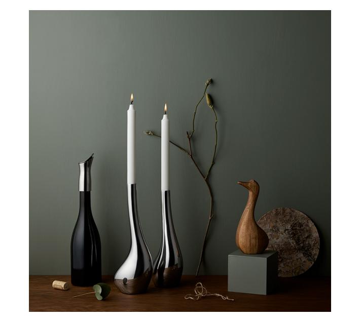 Vagnbys Mr Swan Candlestick Stainless Steel 30 cm