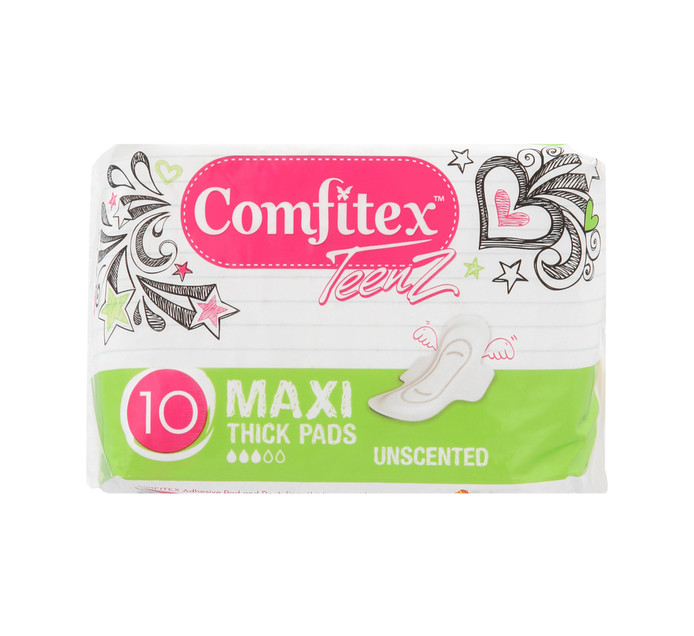 Comfitex Teenz Cotton Maxi Pads Unscented (12 x 10's)