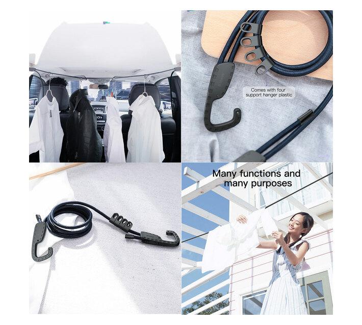 Baseus Multi-purpose Vehicle Elastic Hanger Clothing Line - Black
