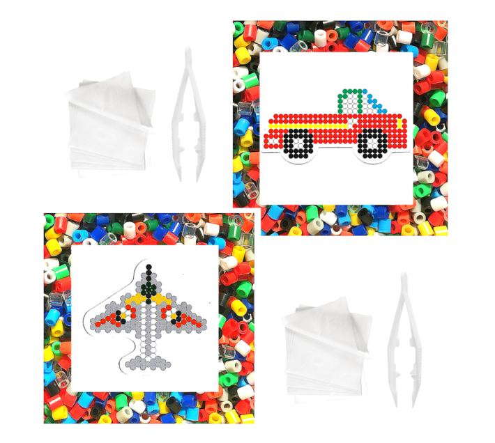 JKA - Iron On Bead Craft Toy - Double Combo Kit - Airplane & Truck