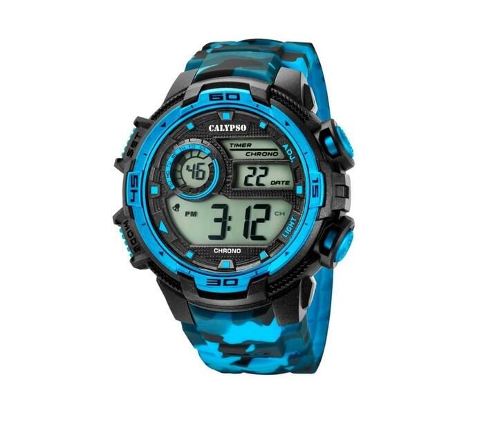 Calypso Digital Mens Sports Chrono Alarm Watch - Blue