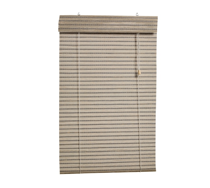 Decor Depot bamboo roll up blind grey/white 2100mm(w) x 2200mm(h)