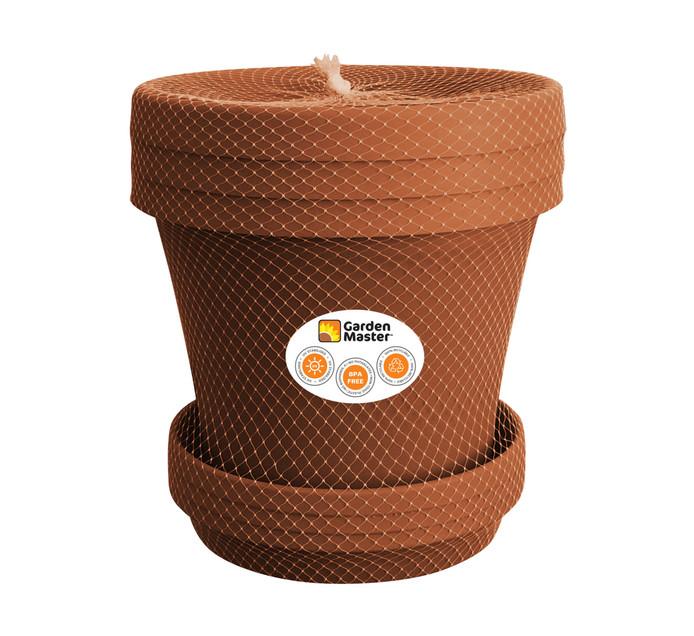 Gardenmaster 3-Piece 20 cm Super Plant Pot and Saucer Set