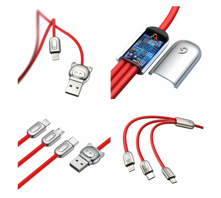Baseus 1.2m - 3.5A 3in1 L.P. USB Type-A 2.0 to Lightning, Micro & Type-C - Red