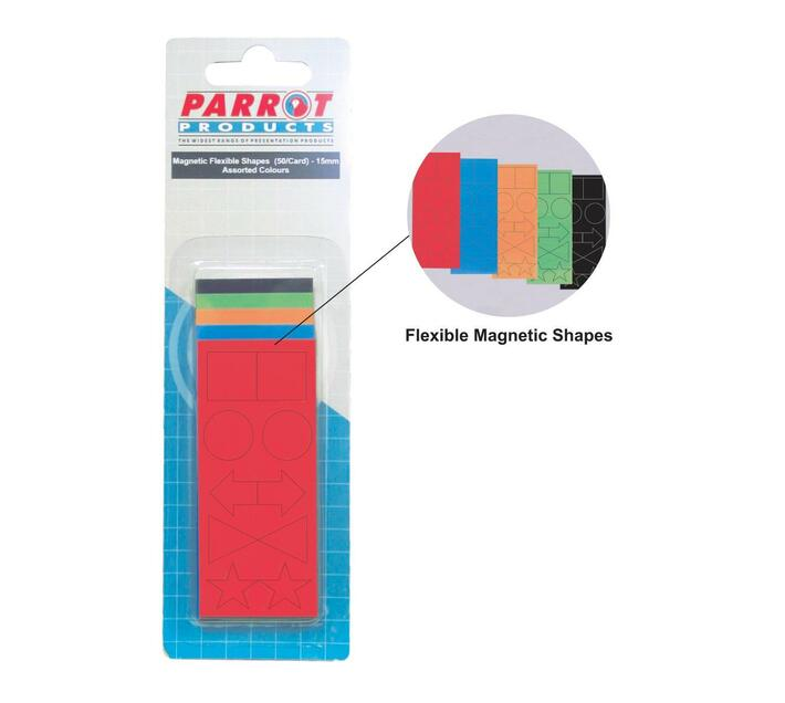 PARROT PRODUCTS Magnetic Flexible Shapes (15mm, 50 Pack, Assorted)