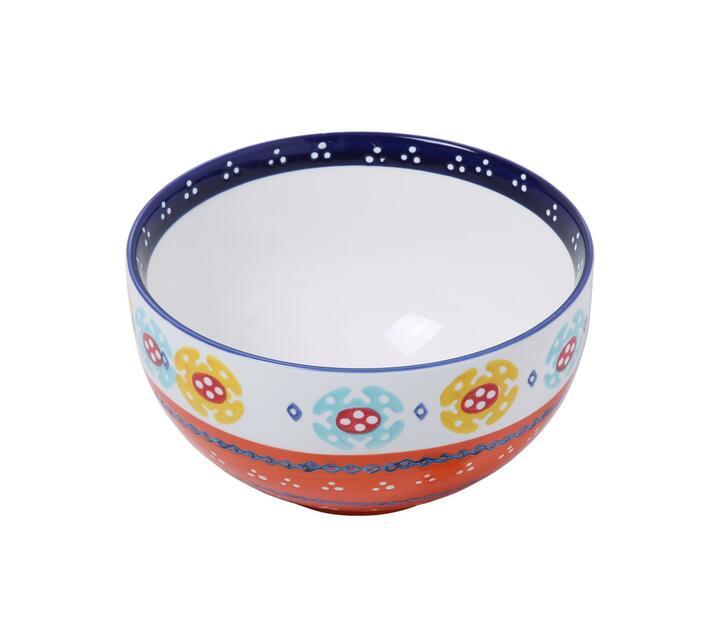 Ceramic Hand Painted 21cm Bowl - Orange