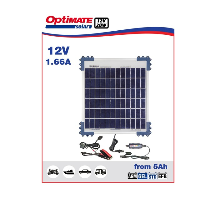 OPTIMATE 20 W 20W Solar Panel Charge Kit 1.66Amp