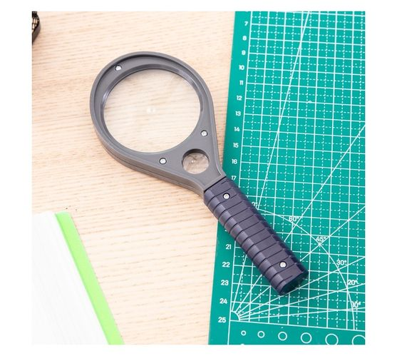 Deli Stationery Magnifier Large Glass: 3X, Black