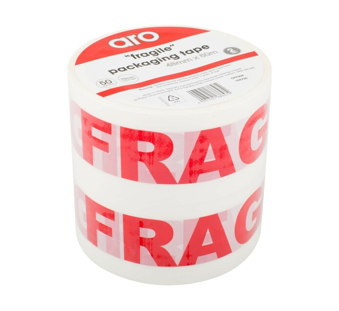ARO Fragile Packaging Tape 2 Pack Clear