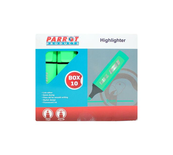 PARROT PRODUCTS Highlighter Marker Box (10 Markers, Green)