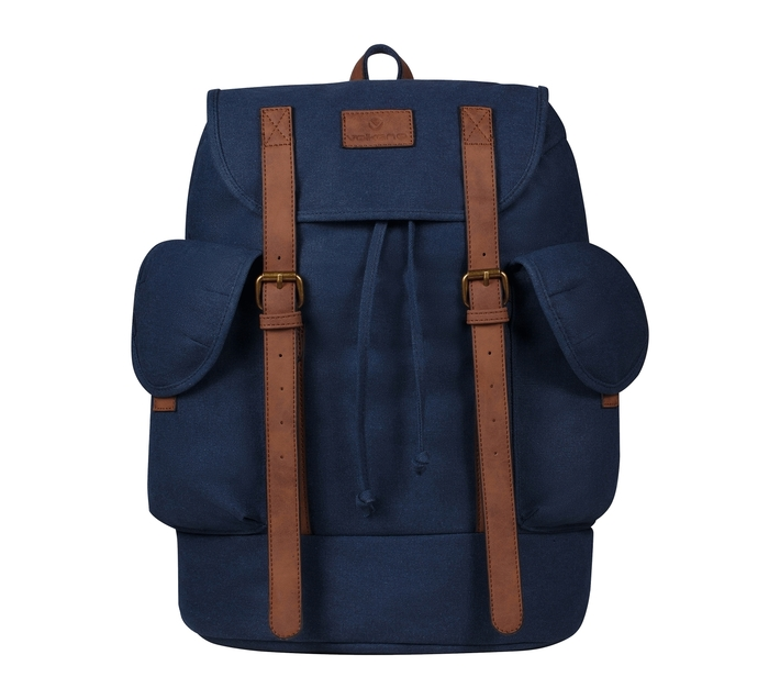 Volkano Urban Canvas Series 15.6` Satchel in Blue with Adjustable Shoulder Straps and Two Side Compartments for easy access to your regularly used items
