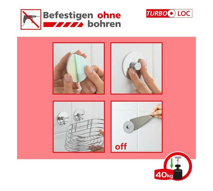 WENKO Turbo-Loc Toothbrush Tumbler Quadro Range - No Drilling Required
