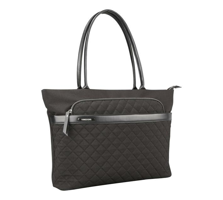Kingsons Ivana Series 15.6 (39.6cm) Ladies Laptop Shoulder Bag in Black with Stylish Criss-Cross Design