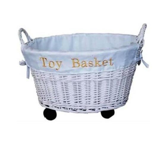 OVAL SHAPE – TOY BASKET WITH WHEELS WHITE