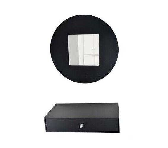 Mirror & drawer set -black
