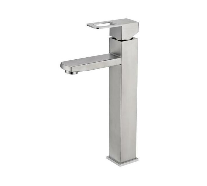 CHROMECATER Basin Mixer Tall Square Brushed S/Steel