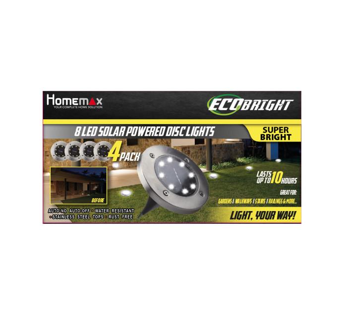 Homemark Ecobright solar Disc Lights 4 Pk