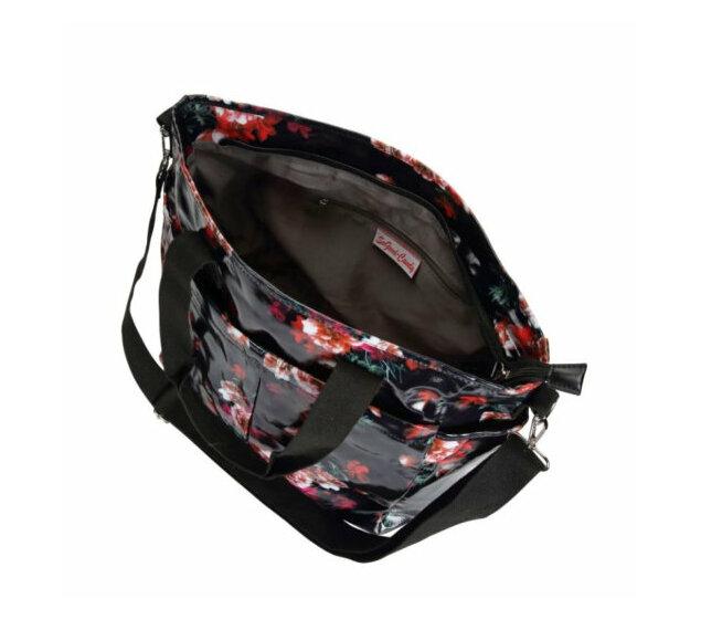 Oilskin Multi Pocket Tote Bag - Dark Floral
