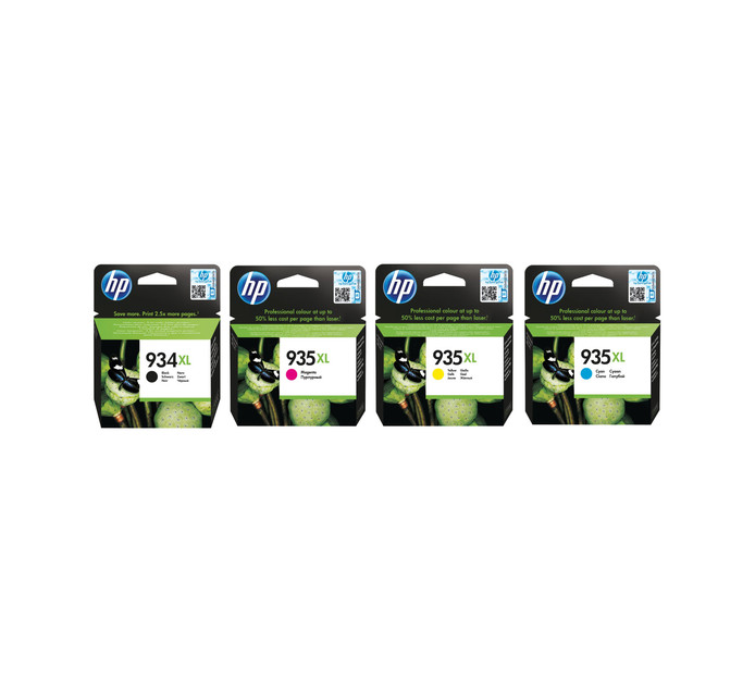 HP 934XL Black Ink plus 935XL Colour Inks - 4 Pack