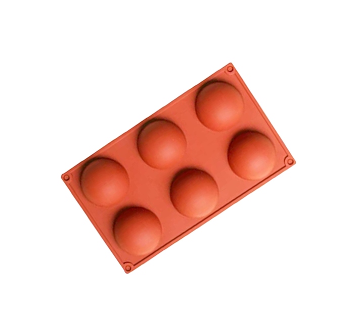6 Cavity Round Shaped Dessert Silicone Baking Mould - Red