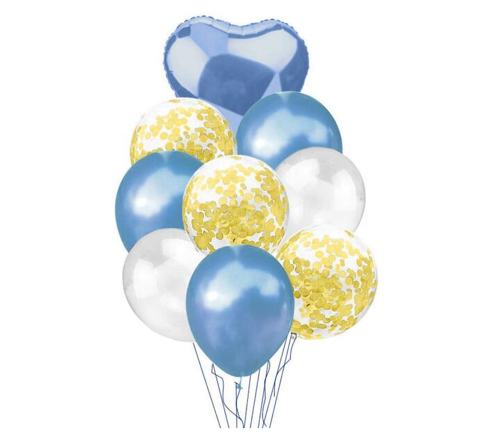 BubbleBean - Royal Blue & Gold Bunched Balloon 9pc