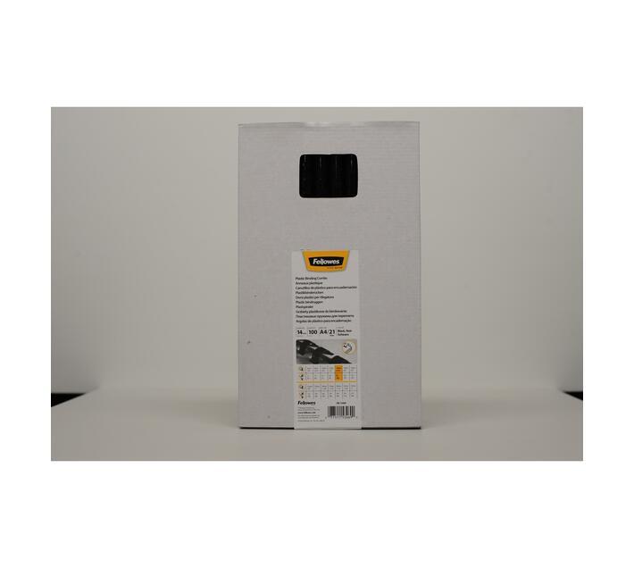Fellowes 14mm Plastic Comb Black 100Pk