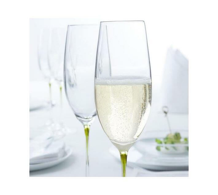 Leonardo Clear Champagne Glass with Green Stem LA Perla Set of 2