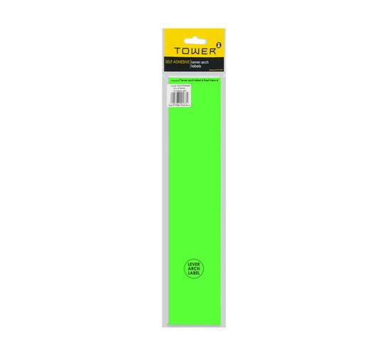Tower Lever Arch Labels Fluorescent Green 12-Pack Fluorescent green