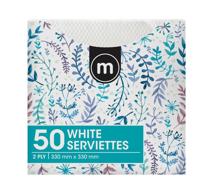 M Serviettes 2Ply 330mmx330mm White (1 x 50's)