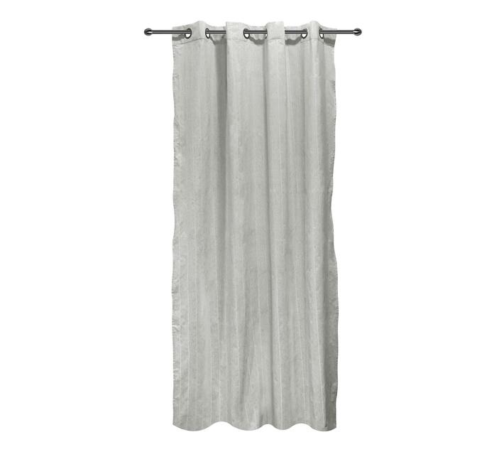 easyhome Nostos Striped Solid Eyelet Curtain Light Grey 140 x 270cm