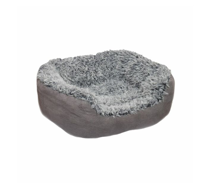 Rosewood Pet Bedding Grey Lion Faux Suede Oval Bed Large
